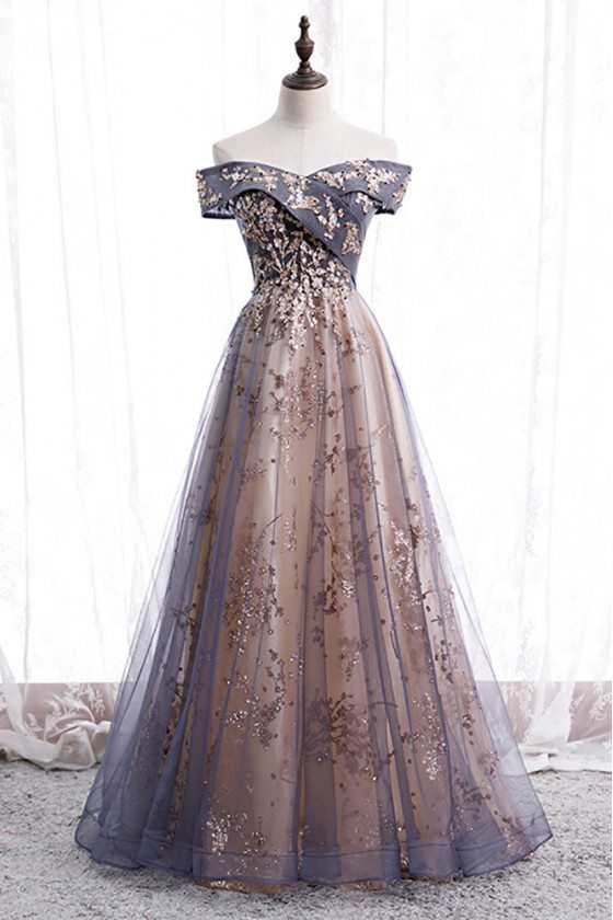 Purple Grey Tulle Dusty Long Prom Dress Off Shoulder with Sequins - MX16024
