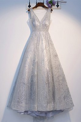 Sparkly Sequins Long Silver Prom Dress with Illusion Vneck - MX16065