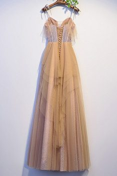 Beautiful Long Champagne Tulle Prom Dress with Strappy Straps - MX16085