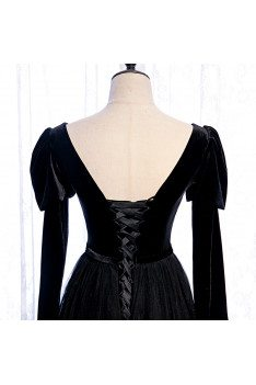 Gothic Black Formal Long Tulle Prom Dress with Long Sleeves - MX16082