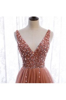 Pink Sequined Split Prom Dress Aline Sleeveless with Train - MX16055