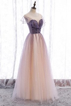 Purple Bling Tulle Prom Dress Illusion Neck with Little Stars - MX16058