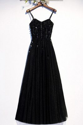 Slim Long Black Party Dress Sequined with Spaghetti Straps - MX16106