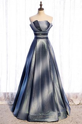 Fatasy Ombre Blue Prom Party Dress Strapless with Bling Tulle - MX16093