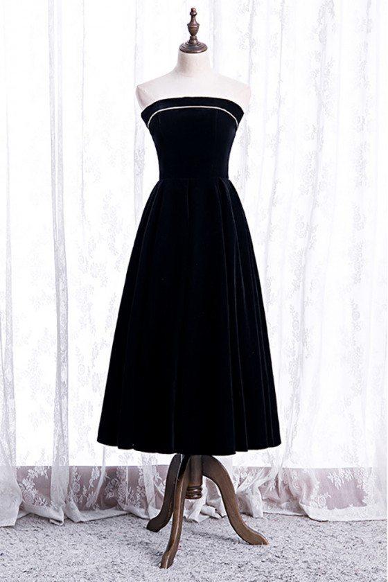 Simple Black Velvet Strapless Tea Length Party Dress - MX16072