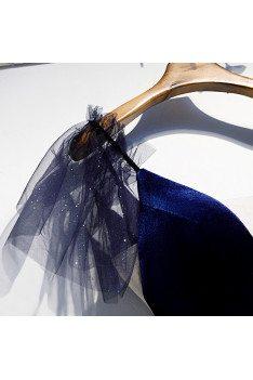 Velvet with Tulle Navy Blue Aline Vneck Prom Dress with Bling - MX16004