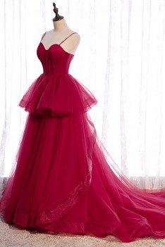 Burgundy Ruffled Tulle Prom Dress Ballgown with Corset Top - MX16099