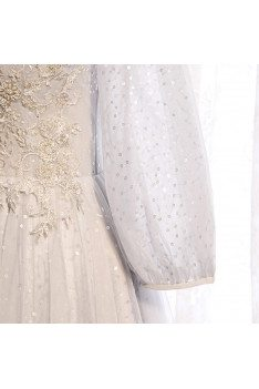 Grey Long Elegant Prom Dress Sequined with Lantern Long Sleeves - MX16081