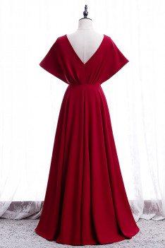 Elegant Burgundy Ruffled Vneck Formal Dress with Dolman Sleeves - MX16044