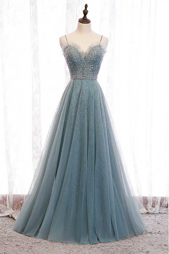 Dusty Blue Tulle Aline Long Prom Dress with Straps Sequins - MX16064