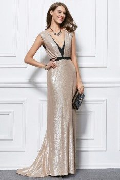 Formal Sweep Train Deep V-neck Sequin Evening Dress