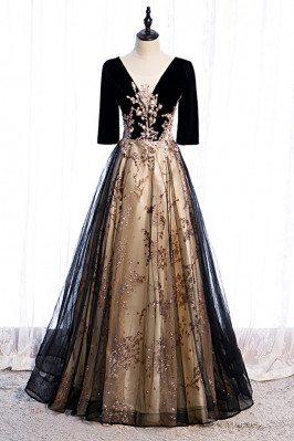 Black Tulle Evening Formal Dress Vneck with Bling Sequins - MX16091