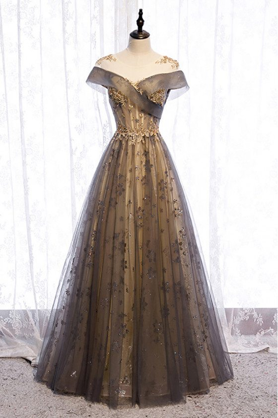 Aline Long Tulle Prom Dress Illusion Neckline with Beaded Embroidery - MX16013