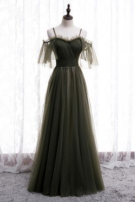 Dusty Green Long Tulle Prom Dress Flowy with Spaghetti Straps - MX16043