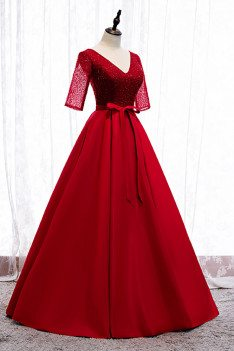 Burgundy Long Formal Dress Vneck Sequined with Sleeves Sash - MX16017