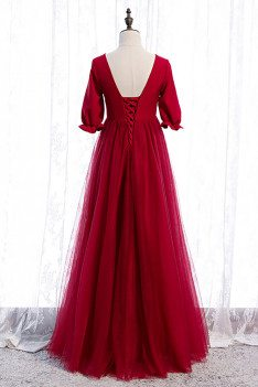 Burgundy Empire Long Tulle Formal Dress Modest Vneck with Sleeves - MX16031