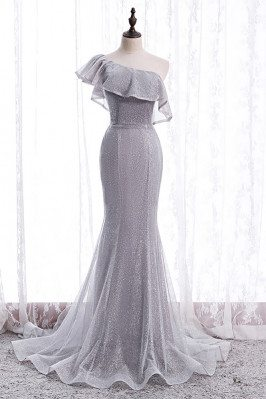 Bling Mesh Mermaid Formal Dress with Train One Shoulder - MX16068