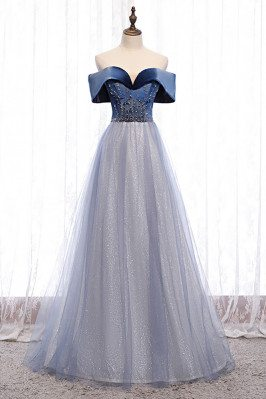 Blue Bling Tulle Off Shoulder Prom Dress with Beaded Pattern - MX16112