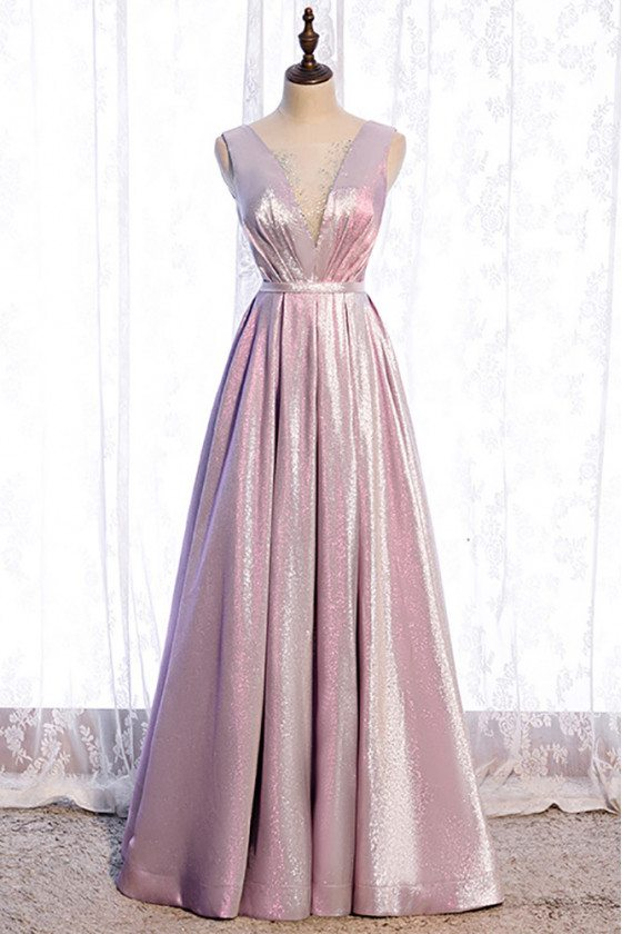 Pink Metallic Pleated Prom Dress Vneck with Beadings - MX16109