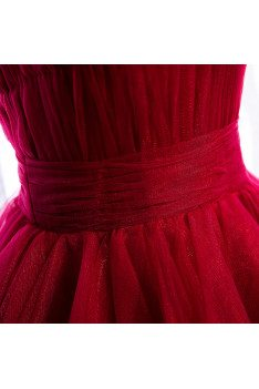 Burgundy Tulle Party Dress Tiered Ruffles with Straps - MX16040