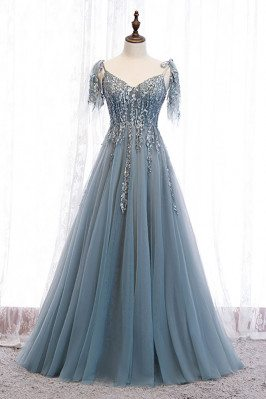 Dusty Blue Sequined Flowy Tulle Prom Dress with Appliques - MX16061