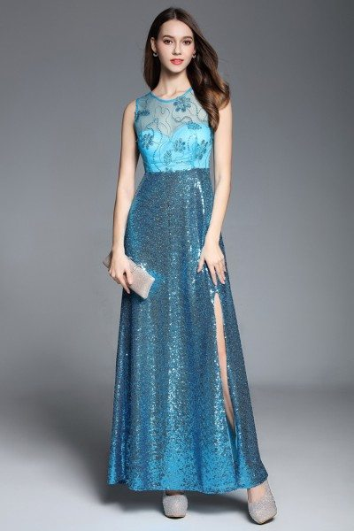Sequins And Embroidery Long Party Dress