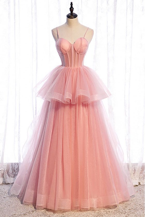Ruffled Tulle Cute Pink Ballgown Formal Dress with Corset Top - MX16107