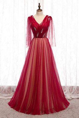 Burgundy Long Tulle Prom Dress Vneck with Dolman Sleeves - MX16119