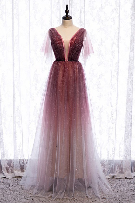 Fantasy Bling Tulle Aline Long Prom Dress with Deep Vneck Tulle Sleeves - MX16023