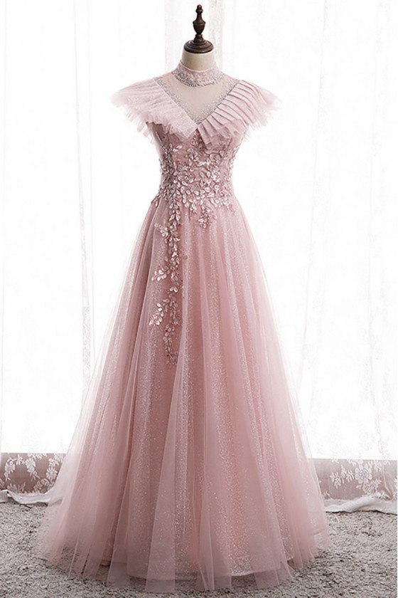 Bling Mesh Tulle Long Prom Dress with Petals Beadings - MX16048