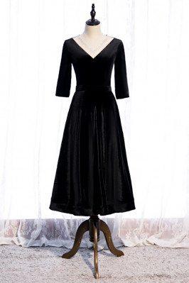 Retro Tea Length Black Velvet Party Dress Beaded Vneck with Sleeves - MX16090