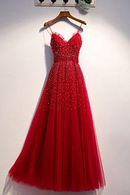 Burgundy Long Tulle Prom Dress Aline with Beadings - MX16053