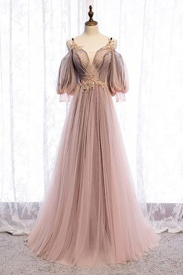 Fairy Long Tulle Prom Dress Cold Shoulder Sleeved with Straps - MX16016