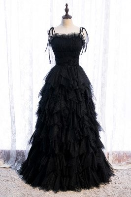 Black Tulle Party Dress Tiered Ruffles with Straps - MX16047