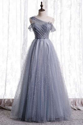 Bling Tulle Dusty Blue  Prom Dress with Bow Knot In Back - MX16098