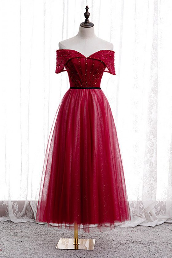 Burgundy Tea Length Sequined Tulle Party Dress Off Shoulder - MX16035