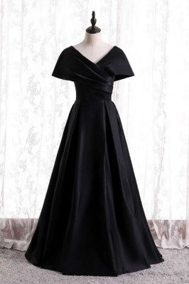 Pleated Long Black Evening Dress Modest with Dolman Sleeves - MX16126