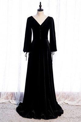 Formal Long Black Velvet Evening Dress Vneck with Long Sleeves - MX16088