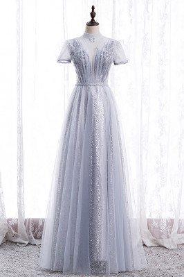 Grey High Neck Elegant Prom Dress Beaded with Short Sleeves - MX16067