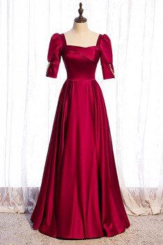 Elegant Square Neckline Satin Formal Dress Aline with Bubble Sleeves - MX16092