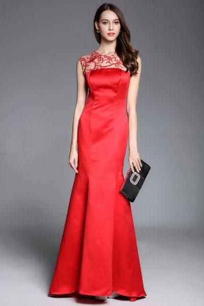 Red Mermaid Satin Long Dress