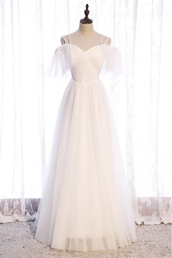 Pretty White Aline Long Tulle Formal Dress with Straps - MX16100