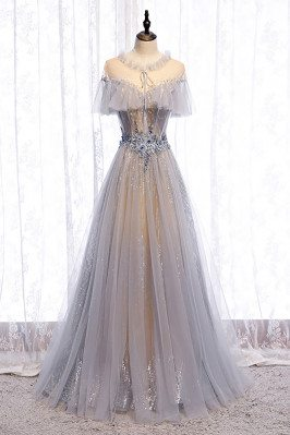 Flowy Beautiful Grey Tulle Prom Dress Unique with Beadings - MX16003