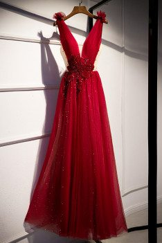 Sequined Deep Vneck Burgundy Prom Dress Bling with Jeweled Waist - MX16020