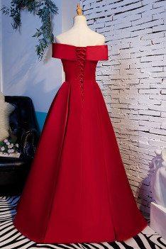 Burgundy Simple Off Shoulder Ruffled Formal Dress - MX16018