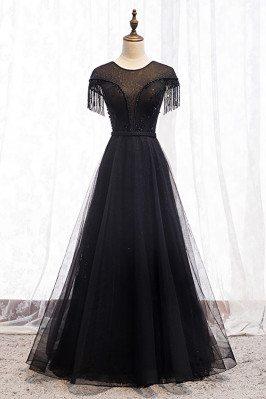 Formal Long Black Evening Dress with Sheer Neckline Beadings - MX16080