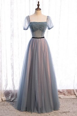 Dusty Aline Tulle Prom Dress Square Neckline with Sleeves - MX16066