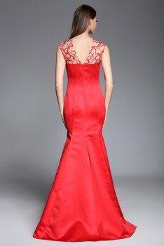 Red Mermaid Satin Long Dress - CK618