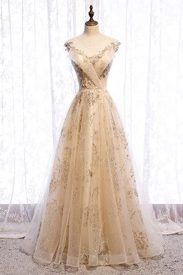 Champagne Gold Long Prom Dress Elegant with Gold Sequins - MX16009