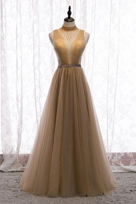Flowy Champagne Tulle Evening Prom Dress Deep Vneck with Beaded High Neck - MX16010